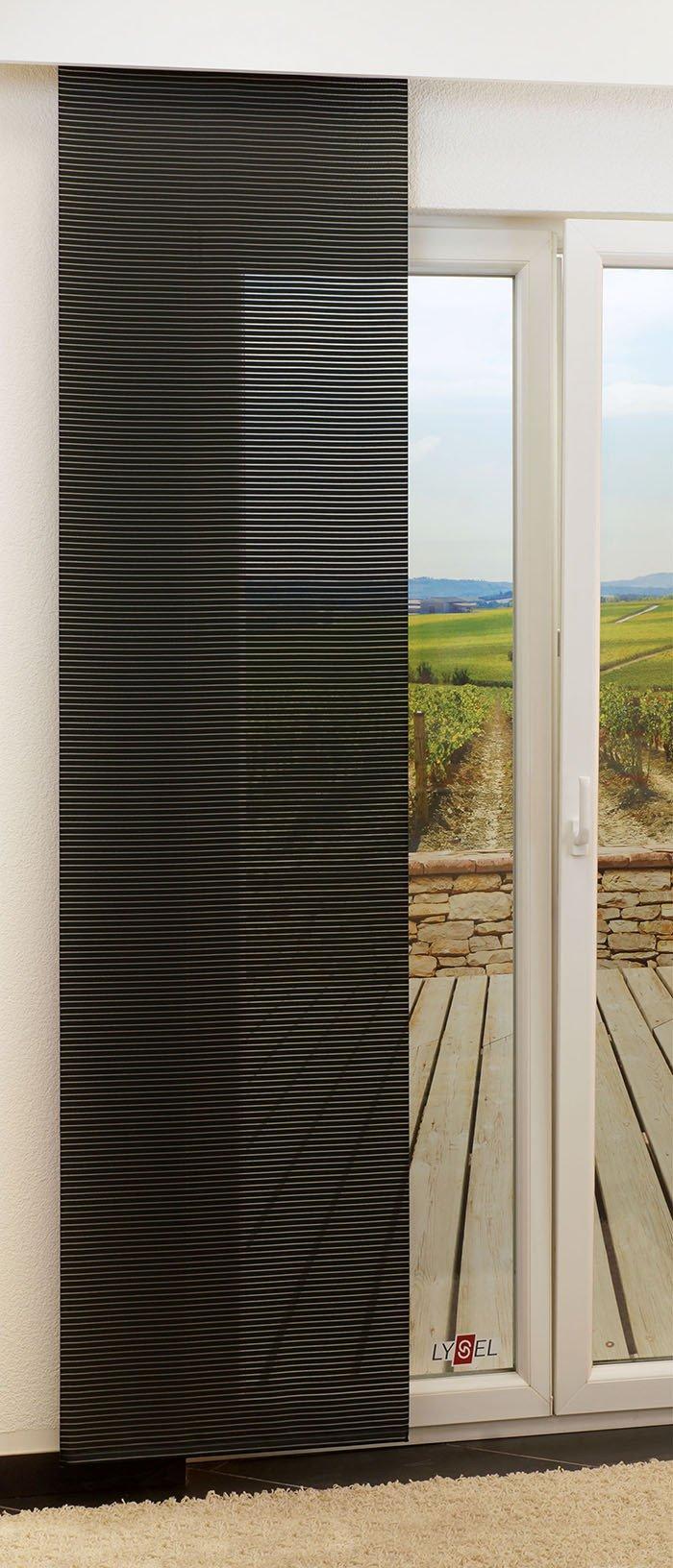 lysel schiebegardinen groom schwarz breite 60 x h he 245 cm ebay. Black Bedroom Furniture Sets. Home Design Ideas