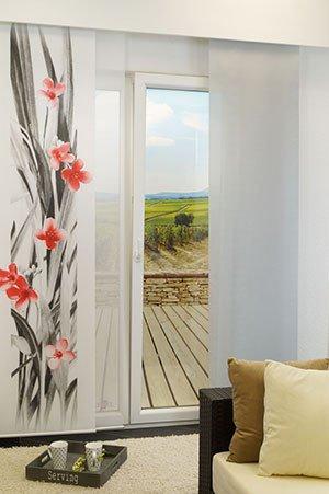 schiebegardine mit fotodruck bl tenmeer 245x60 cm fl chenvorhang inkl zubeh r ebay. Black Bedroom Furniture Sets. Home Design Ideas