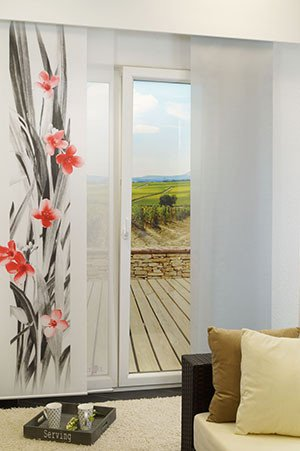 schiebegardine mit fotodruck bl tenmeer 245x60 cm. Black Bedroom Furniture Sets. Home Design Ideas