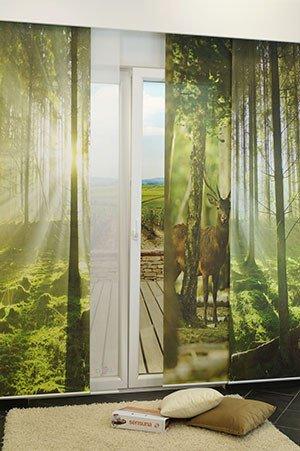 lysel schiebegardinen pusteblume schwarz wei 60 x 245 cm ebay. Black Bedroom Furniture Sets. Home Design Ideas