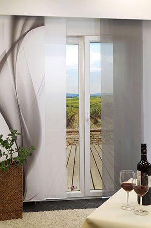 lysel schiebegardinen pusteblume schwarz wei 60 x 245 cm. Black Bedroom Furniture Sets. Home Design Ideas