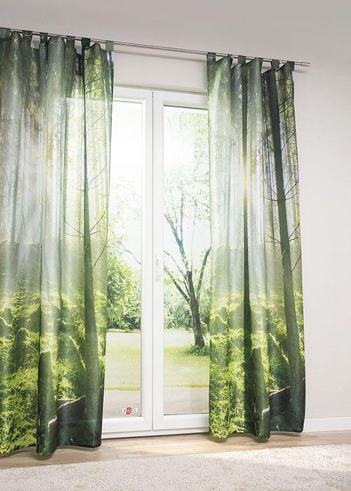 gardinenschals in gr n fenstervorh nge mit naturnahen. Black Bedroom Furniture Sets. Home Design Ideas