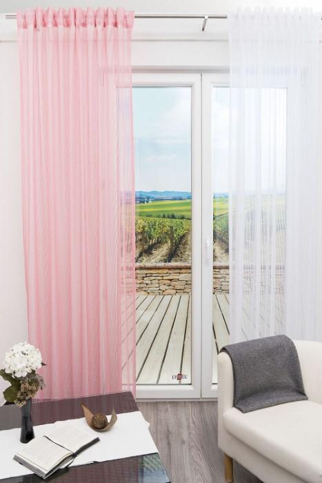 dekoschal in rosa eine ansprechend feminine note am fenster. Black Bedroom Furniture Sets. Home Design Ideas
