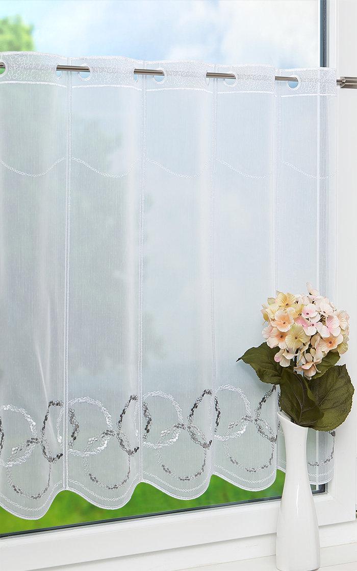 lysel scheibengardinen kreise grau wei ebay. Black Bedroom Furniture Sets. Home Design Ideas