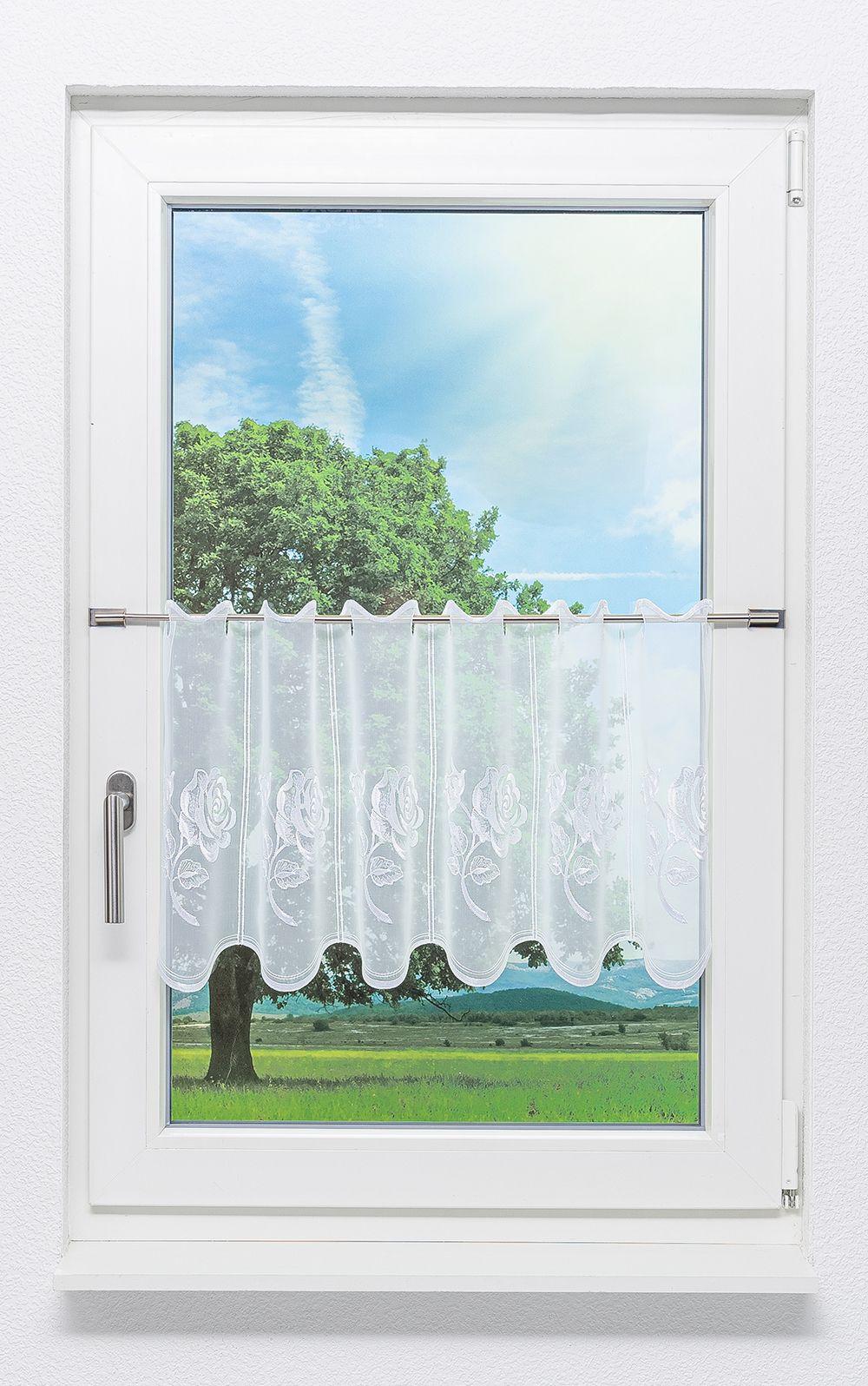 lysel scheibengardinen rosentraum wei ebay. Black Bedroom Furniture Sets. Home Design Ideas