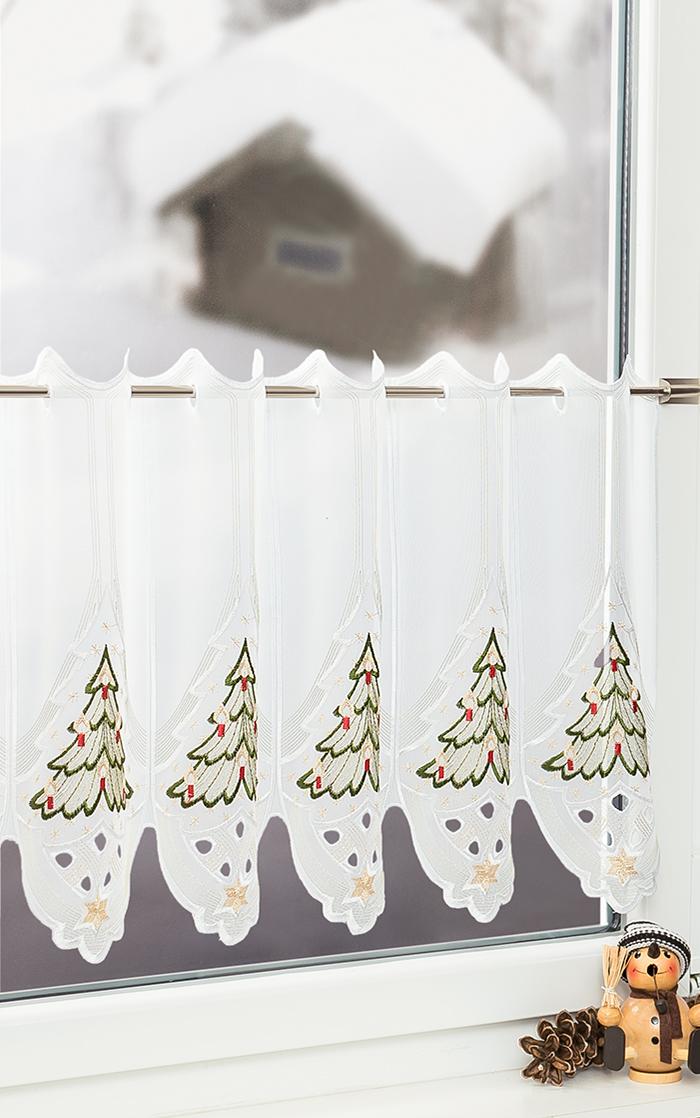 plauener spitze scheibengardinen weihnachtsbaum mehrfarbig gr n ebay. Black Bedroom Furniture Sets. Home Design Ideas