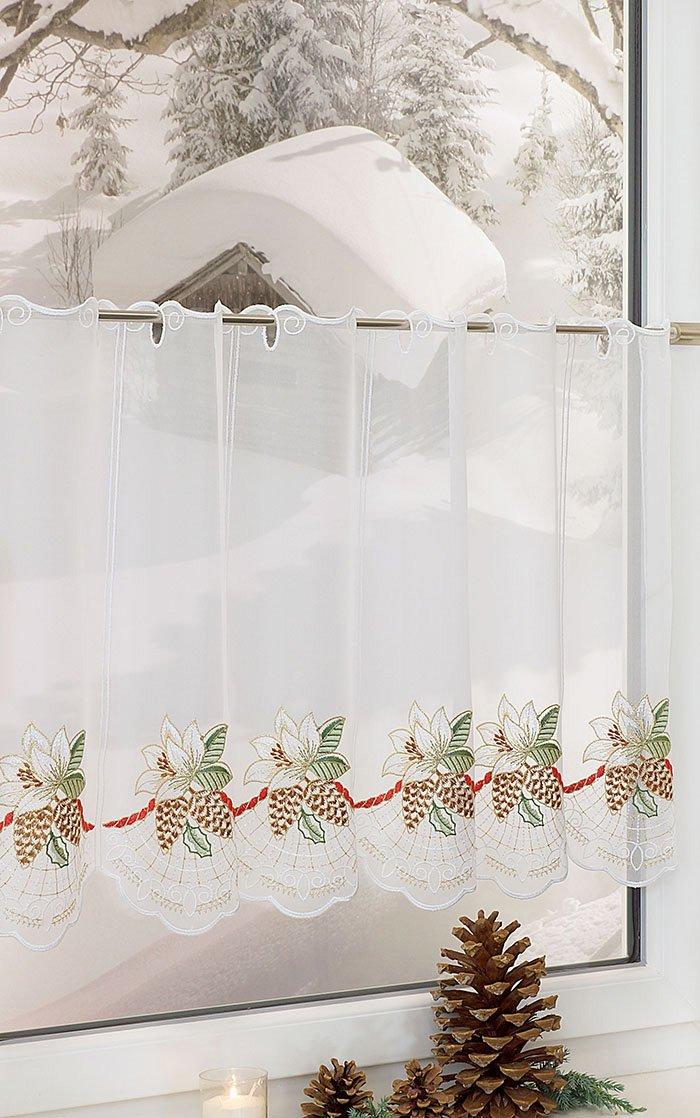 plauener spitze scheibengardinen weihnachtsrose mehrfarbig rot ebay. Black Bedroom Furniture Sets. Home Design Ideas
