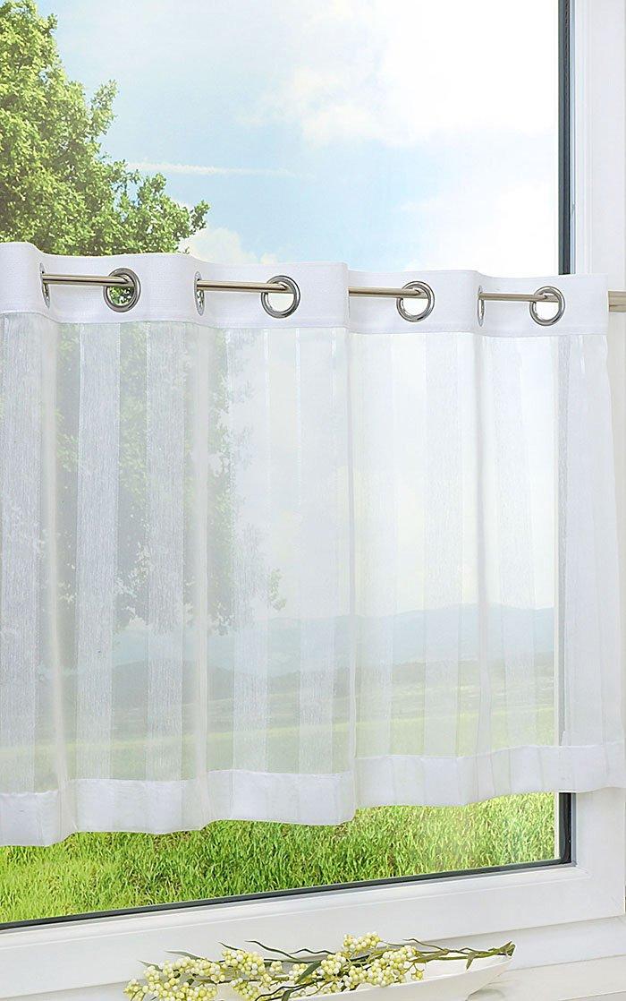 lysel scheibengardinen glanzstreifen wei ebay. Black Bedroom Furniture Sets. Home Design Ideas