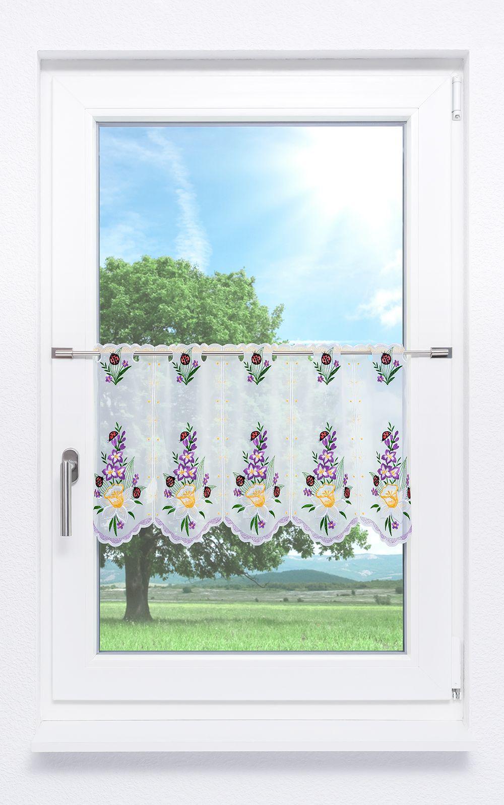 plauener spitze scheibengardinen fr hlingsblumen lila violett ebay. Black Bedroom Furniture Sets. Home Design Ideas