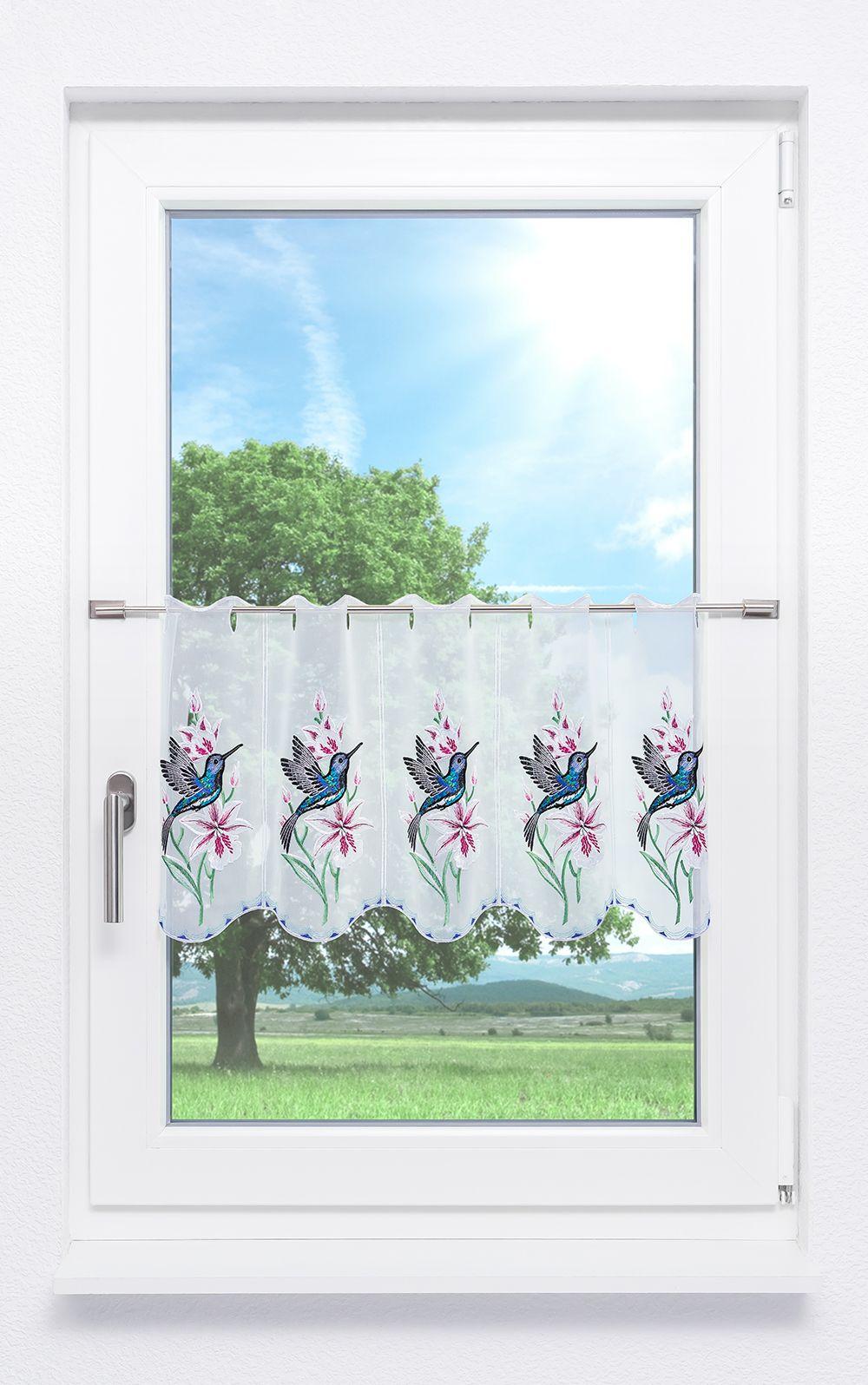 plauener spitze scheibengardinen kolibri pink blau ebay. Black Bedroom Furniture Sets. Home Design Ideas