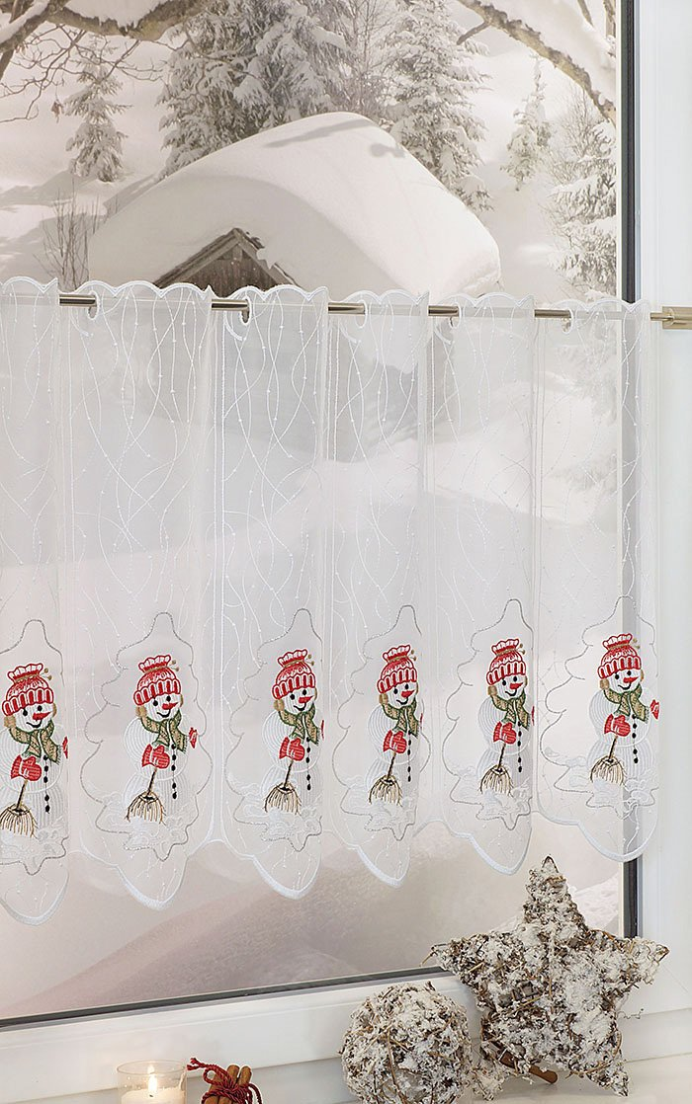 plauener spitze scheibengardinen snowman kaminrot ebay. Black Bedroom Furniture Sets. Home Design Ideas