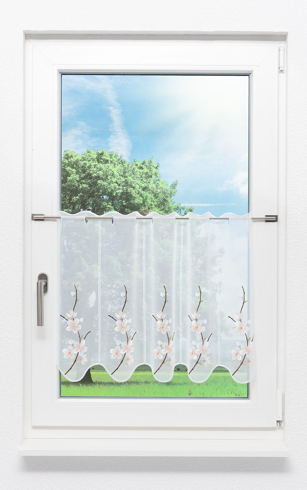Plauener Spitze Scheibengardinen Blütenzweig weiß | eBay