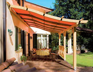 planungshilfen f r pergola toscana mit sonnenschutzsegel terracotta. Black Bedroom Furniture Sets. Home Design Ideas
