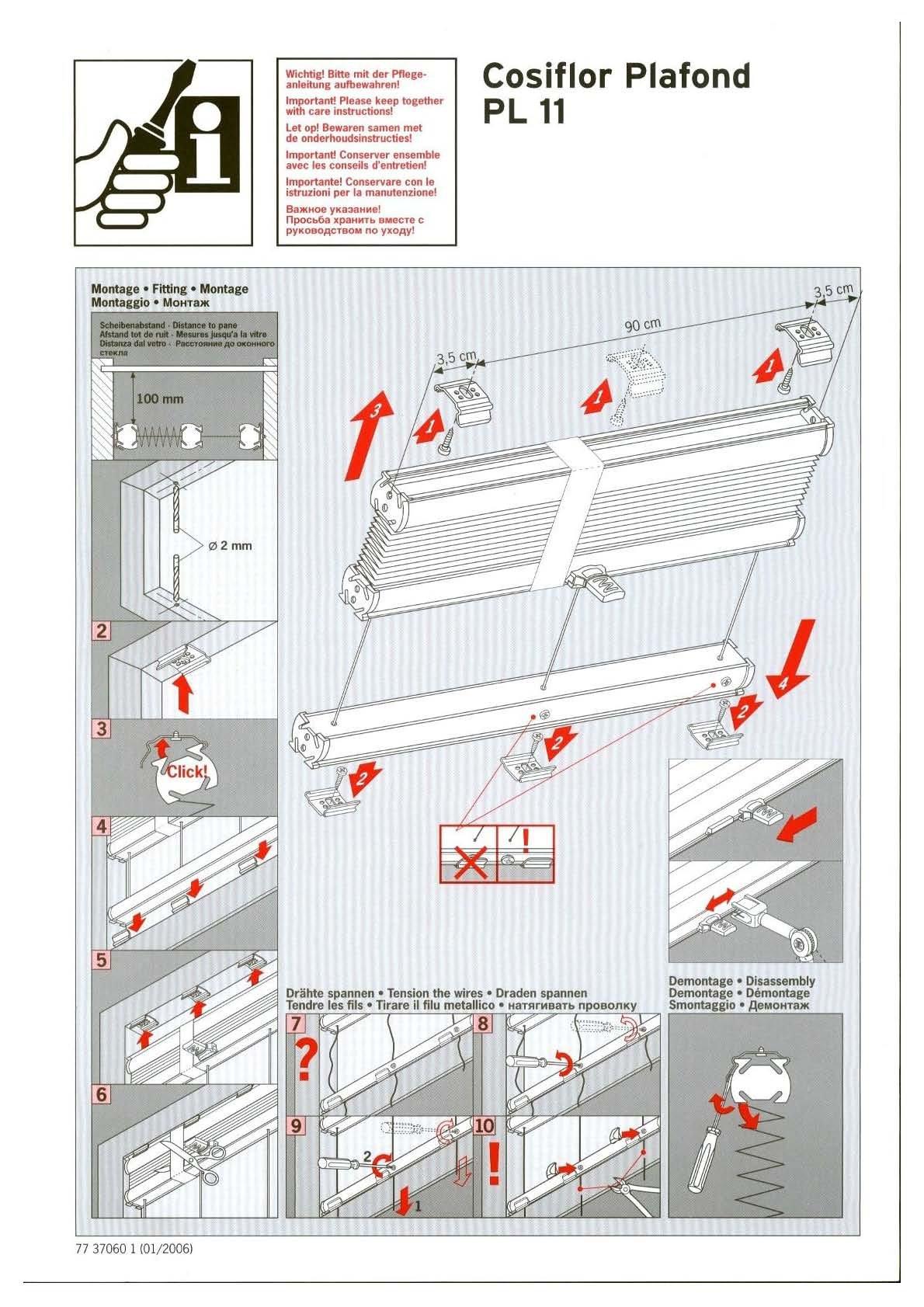 plissee plafondanlage cosiflor pl 11. Black Bedroom Furniture Sets. Home Design Ideas